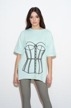 Tricou menta cu print corset