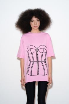 Tricou roz cu print corset