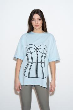 Tricou bleu cu print corset