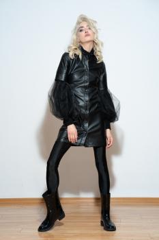 Rochie midi din imitatie piele neagra