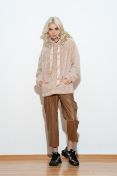 Pantaloni de piele lungi maro