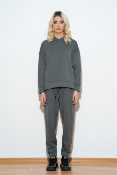 Compleu gri inchis bluza cu fenta si pantalon lung